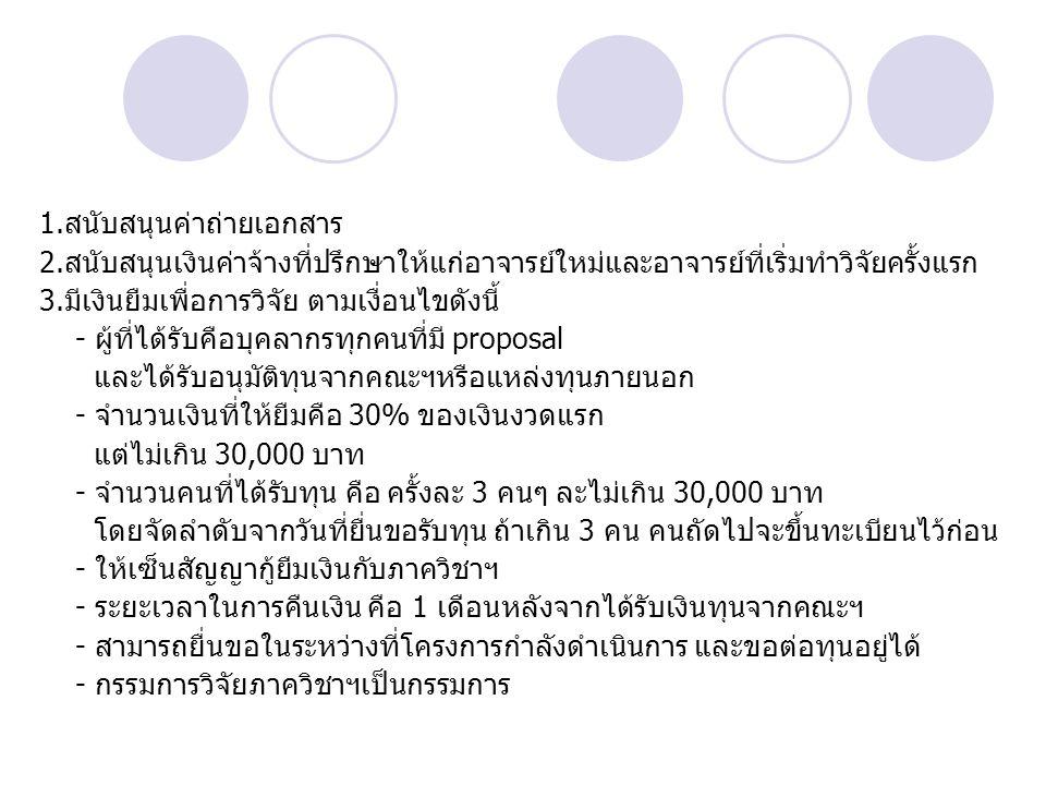 1.สนับสนุนค่าถ่ายเอกสาร