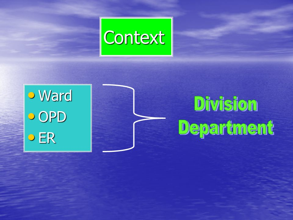 Context Ward OPD ER Division Department