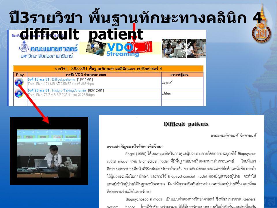 ปี3รายวิชา พื้นฐานทักษะทางคลินิก 4 difficult patient