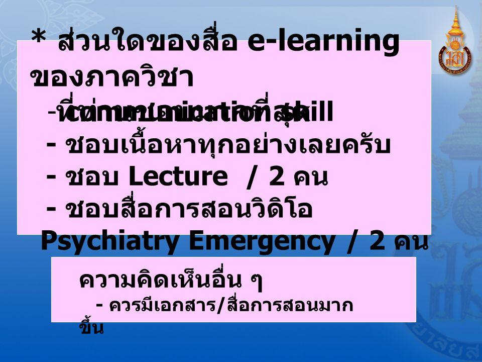 * ส่วนใดของสื่อ e-learning ของภาควิชา ที่ท่านชอบมากที่สุด
