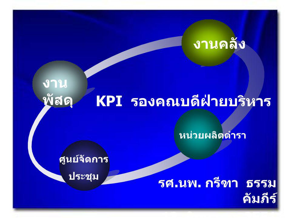 KPI รองคณบดีฝ่ายบริหาร