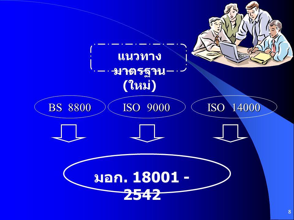 แนวทางมาตรฐาน (ใหม่) BS 8800 ISO 9000 ISO 14000 มอก. 18001 - 2542