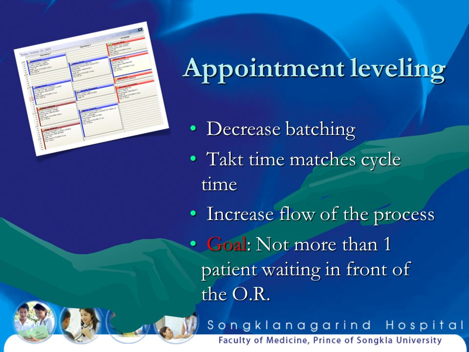 Appointment leveling Decrease batching Takt time matches cycle time