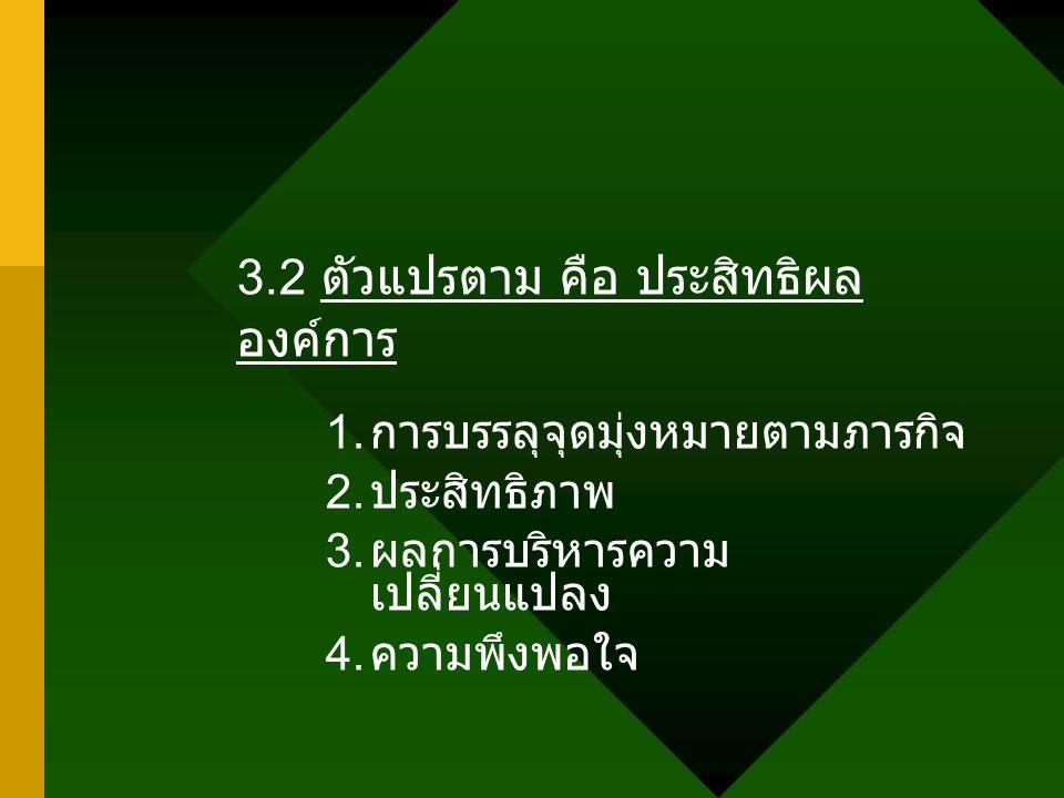 3.2 ตัวแปรตาม คือ ประสิทธิผลองค์การ