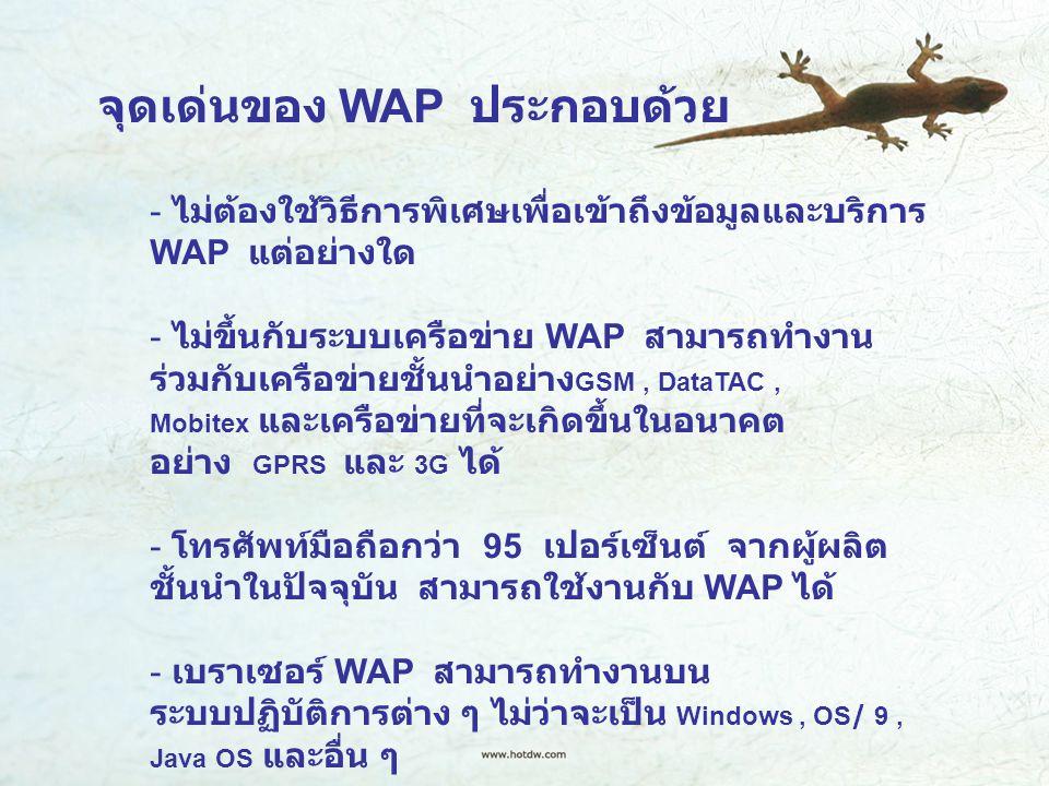 จุดเด่นของ WAP ประกอบด้วย