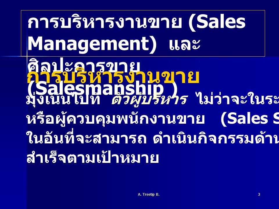 การบริหารงานขาย การบริหารงานขาย (Sales Management) และ