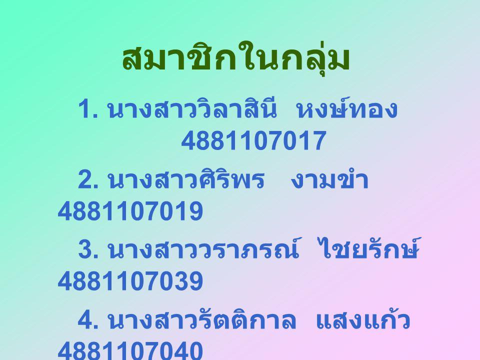 1. นางสาววิลาสินี หงษ์ทอง 4881107017