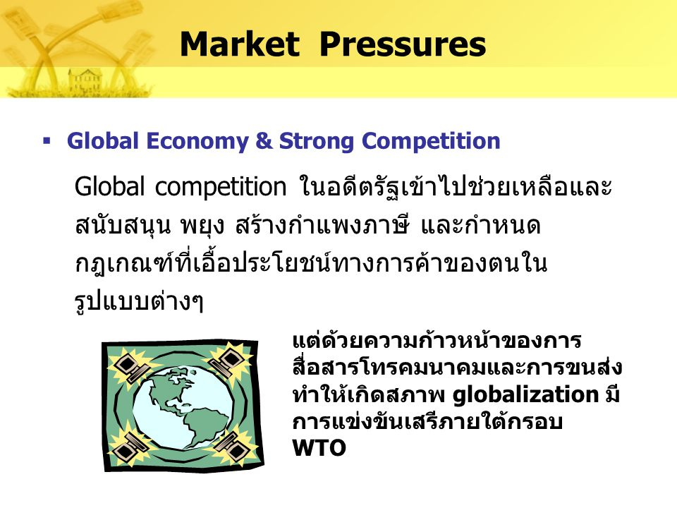 Market Pressures Global Economy & Strong Competition.