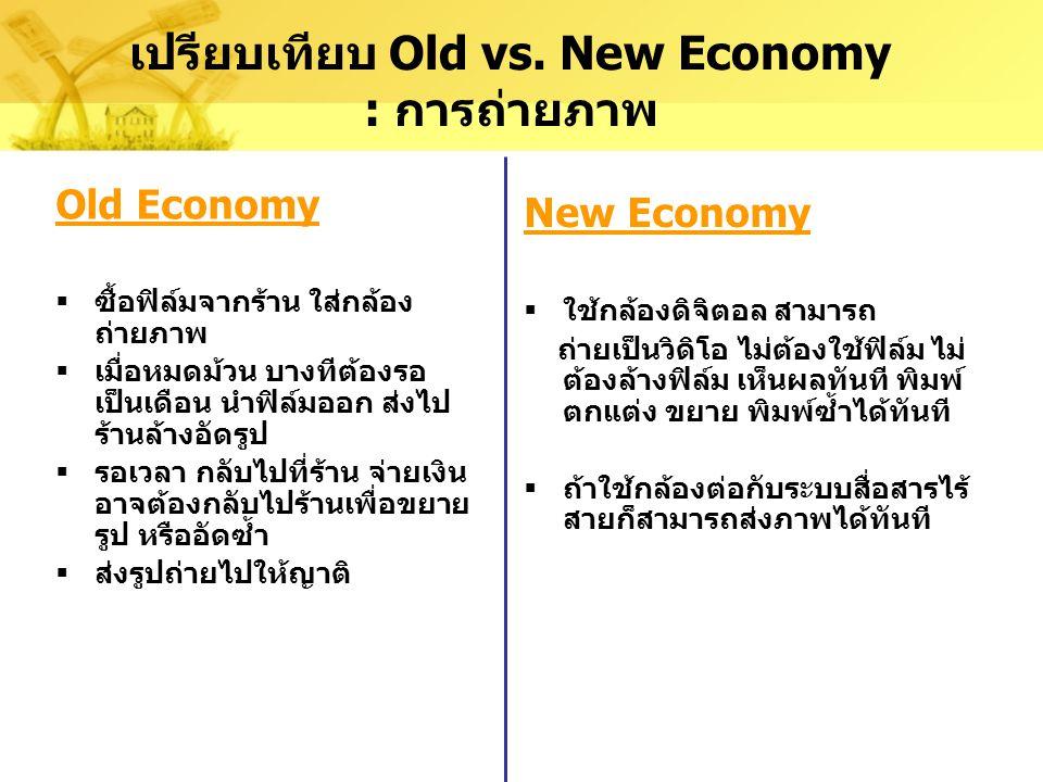 เปรียบเทียบ Old vs. New Economy : การถ่ายภาพ