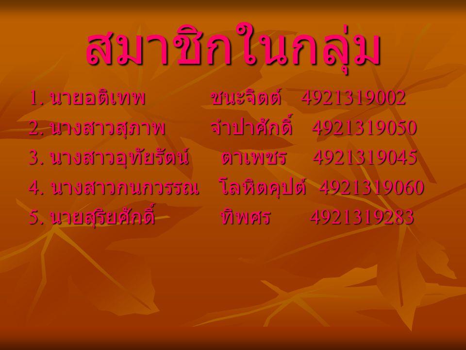 สมาชิกในกลุ่ม 1. นายอติเทพ ชนะจิตต์ 4921319002