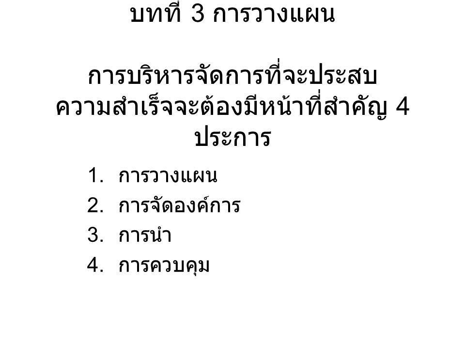 บทที่ 3 การวางแผน การบริหารจัดการที่จะประสบความสำเร็จจะต้องมีหน้าที่สำคัญ 4 ประการ