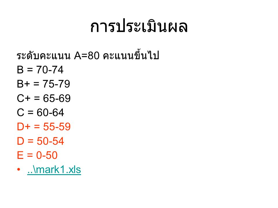 การประเมินผล ระดับคะแนน A=80 คะแนนขึ้นไป B = 70-74 B+ = 75-79