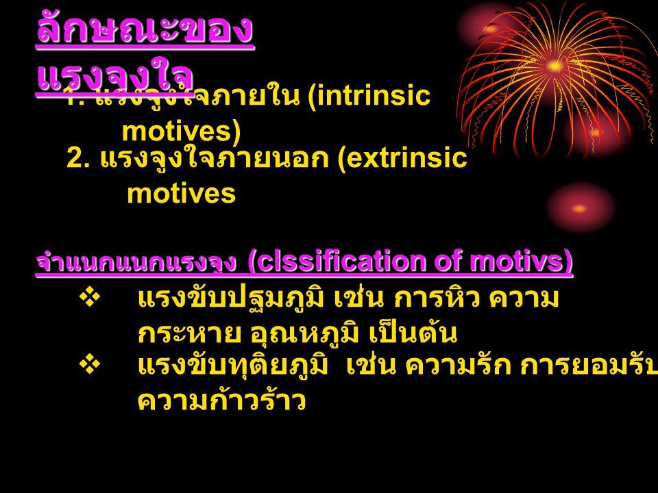 ลักษณะของแรงจูงใจ 1. แรงจูงใจภายใน (intrinsic motives)