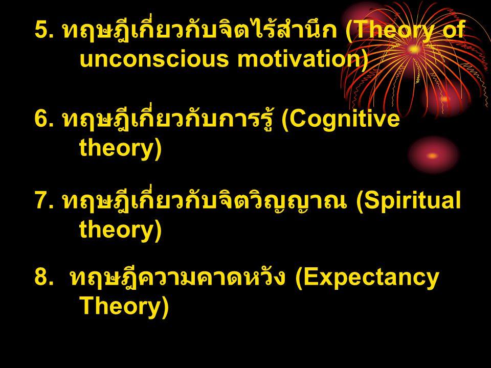 5. ทฤษฎีเกี่ยวกับจิตไร้สำนึก (Theory of unconscious motivation)