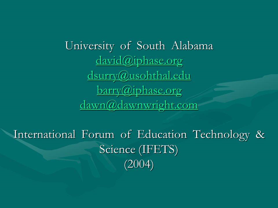 การวิเคราะห์งานวิจัย (ต่อ) University of South Alabama david@iphase