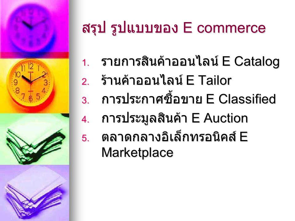 สรุป รูปแบบของ E commerce