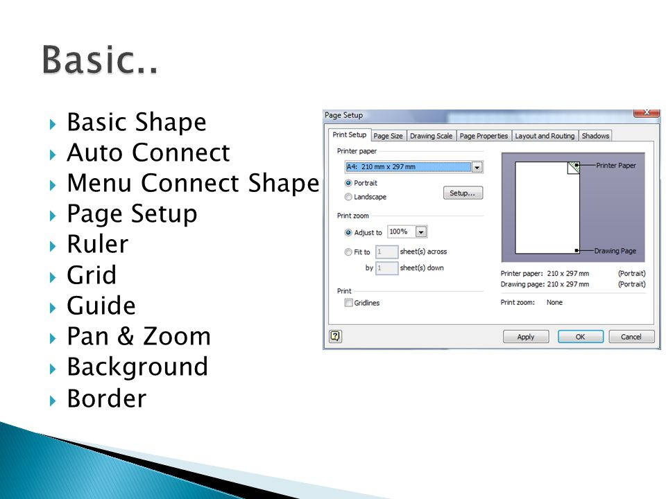 Basic.. Basic Shape Auto Connect Menu Connect Shape Page Setup Ruler