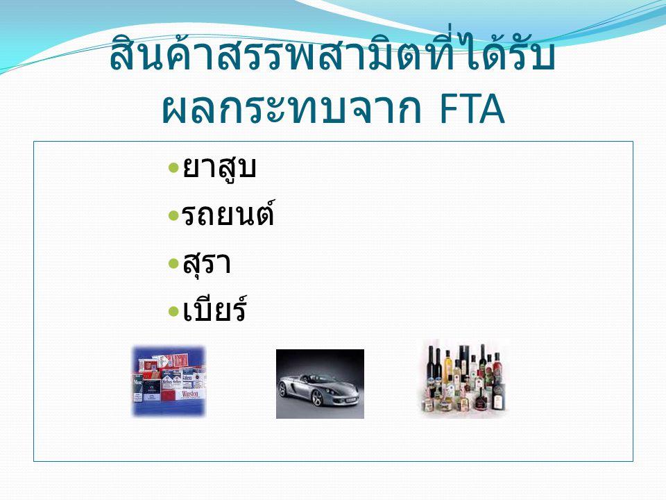 สินค้าสรรพสามิตที่ได้รับผลกระทบจาก FTA