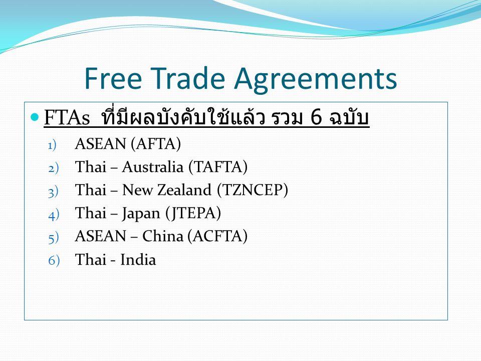Free Trade Agreements FTAs ที่มีผลบังคับใช้แล้ว รวม 6 ฉบับ