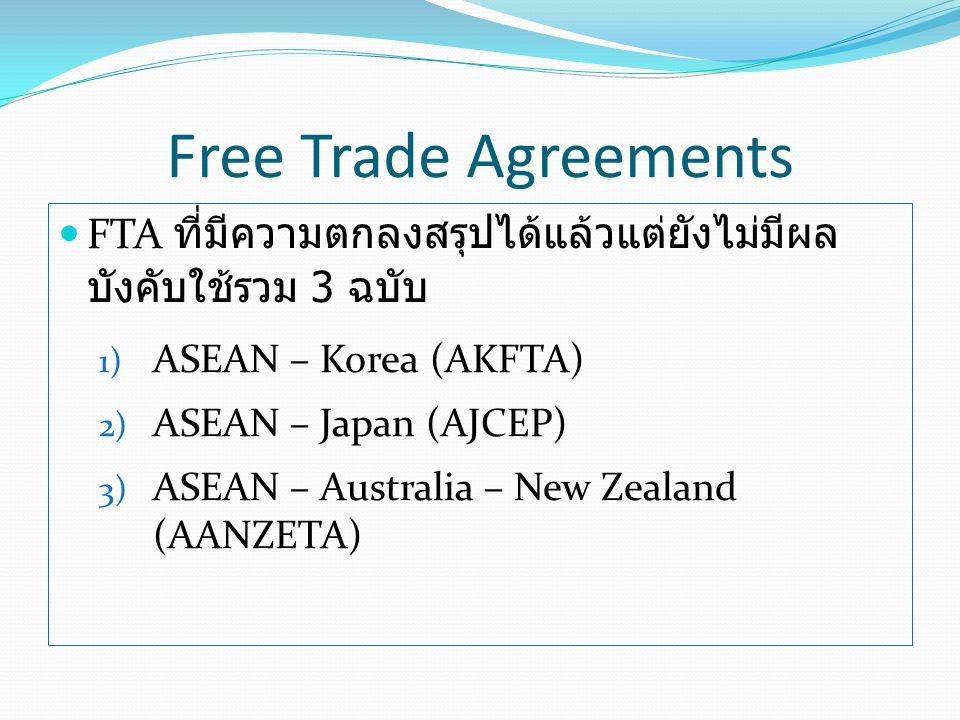 Free Trade Agreements FTA ที่มีความตกลงสรุปได้แล้วแต่ยังไม่มีผลบังคับใช้รวม 3 ฉบับ. ASEAN – Korea (AKFTA)