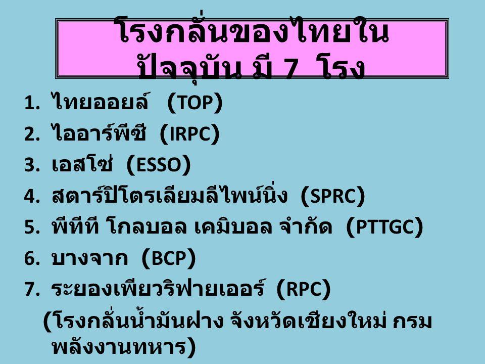 โรงกลั่นของไทยในปัจจุบัน มี 7 โรง