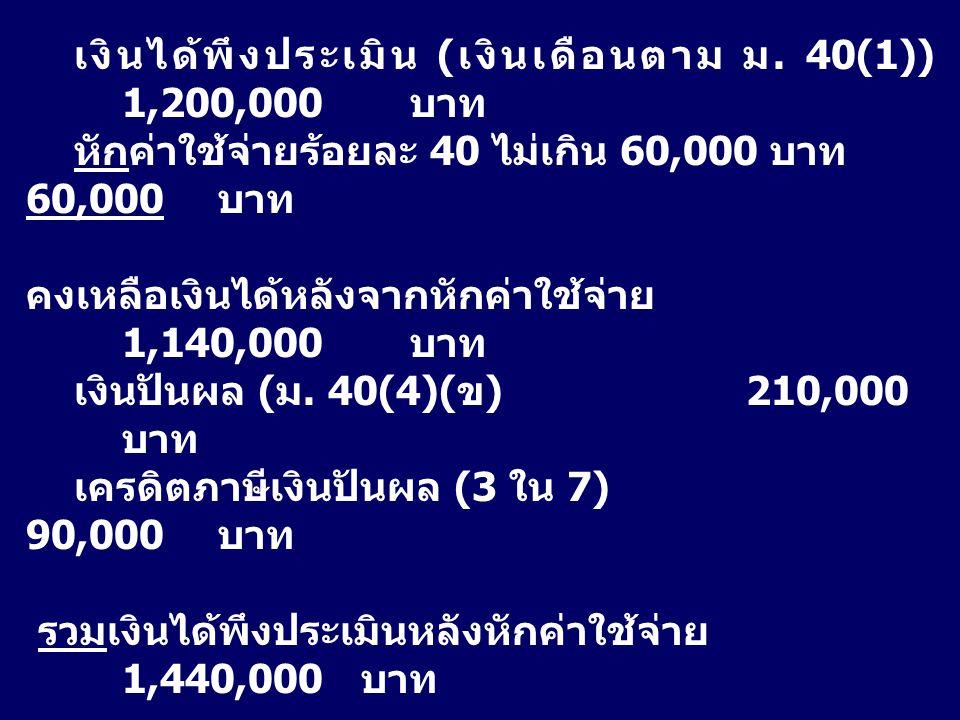 เงินได้พึงประเมิน (เงินเดือนตาม ม. 40(1)) 1,200,000 บาท