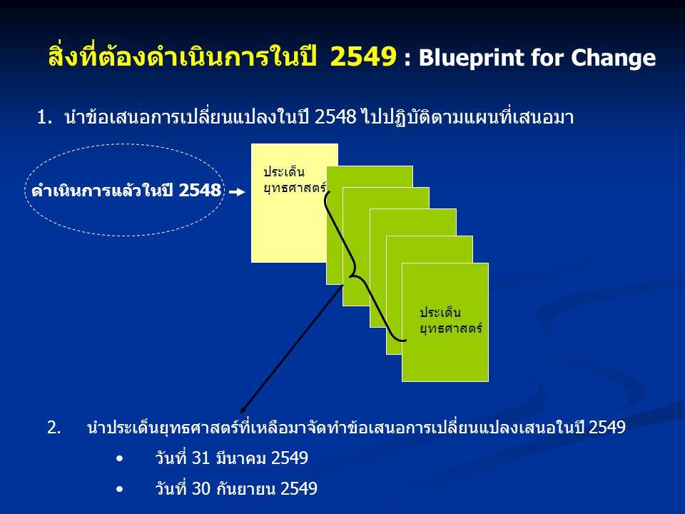 สิ่งที่ต้องดำเนินการในปี 2549 : Blueprint for Change