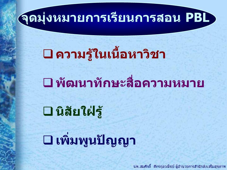 จุดมุ่งหมายการเรียนการสอน PBL