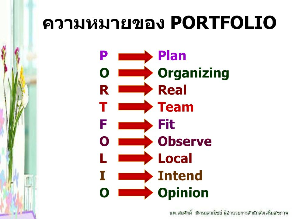 ความหมายของ PORTFOLIO