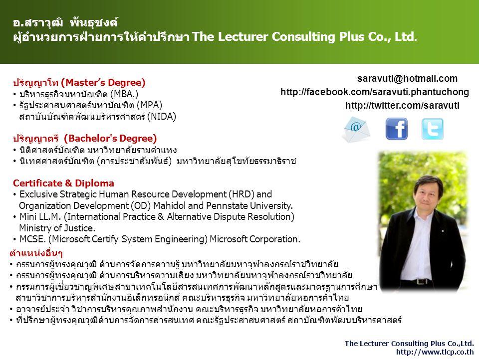 ผู้อำนวยการฝ่ายการให้คำปรึกษา The Lecturer Consulting Plus Co., Ltd.