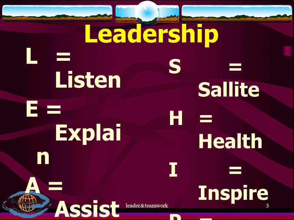 Leadership L = Listen E = Explain A = Assist D = Discuss E = Evaluate