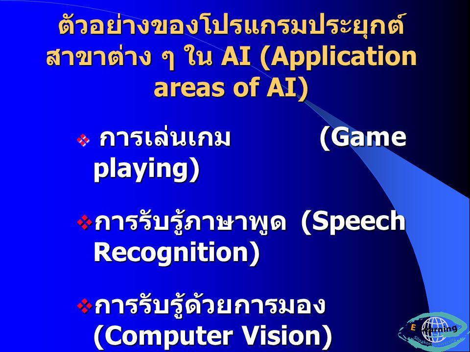 ตัวอย่างของโปรแกรมประยุกต์สาขาต่าง ๆ ใน AI (Application areas of AI)