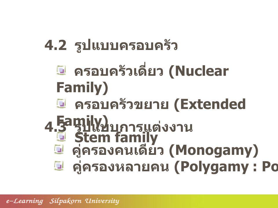 4.2 รูปแบบครอบครัว ครอบครัวเดี่ยว (Nuclear Family) ครอบครัวขยาย (Extended Family) Stem family. 4.3 รูปแบบการแต่งงาน.