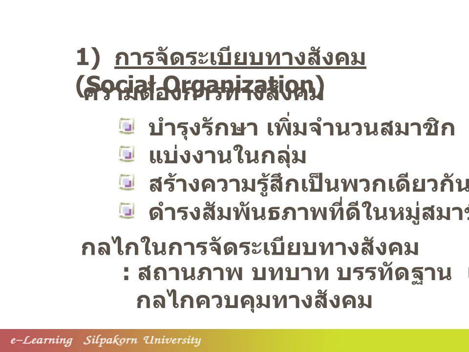 1) การจัดระเบียบทางสังคม (Social Organization)