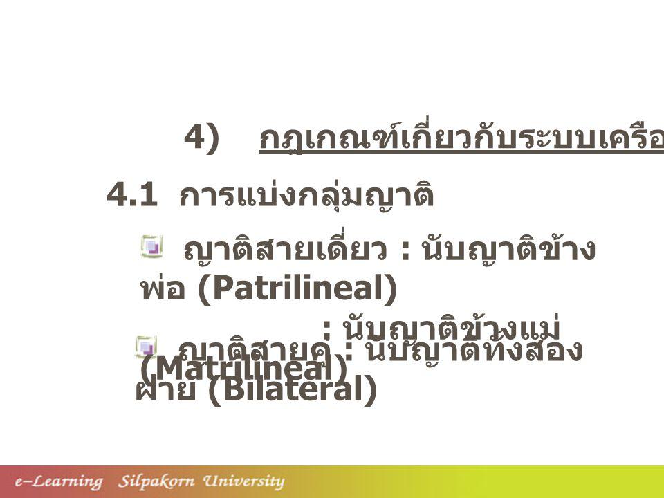4) กฎเกณฑ์เกี่ยวกับระบบเครือญาติ