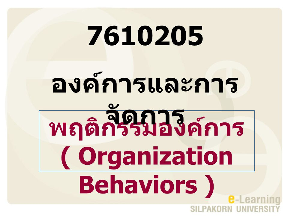 ( Organization Behaviors )