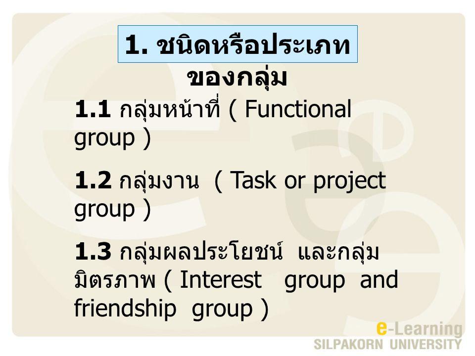 1. ชนิดหรือประเภทของกลุ่ม