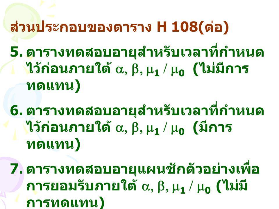 ส่วนประกอบของตาราง H 108(ต่อ)