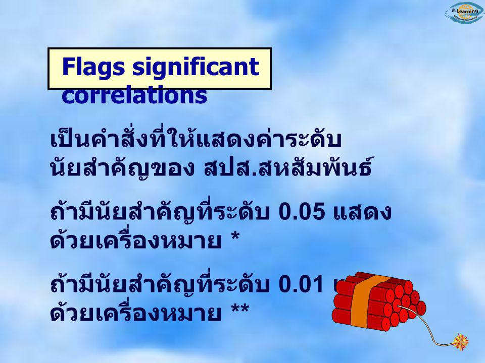Flags significant correlations