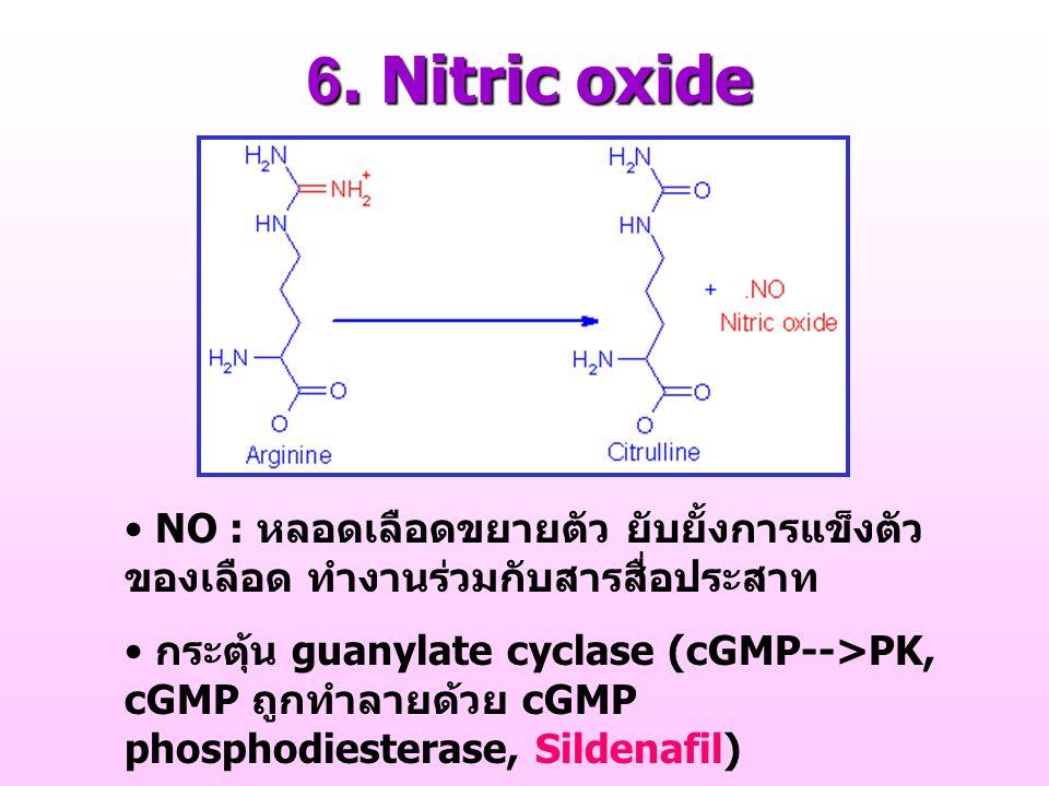 6. Nitric oxide NO : หลอดเลือดขยายตัว ยับยั้งการแข็งตัวของเลือด ทำงานร่วมกับสารสื่อประสาท.