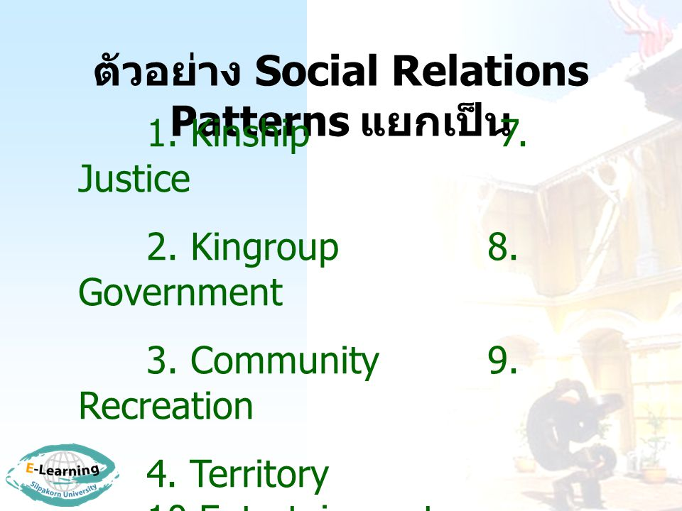 ตัวอย่าง Social Relations Patterns แยกเป็น