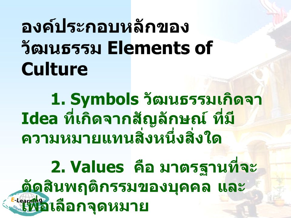 องค์ประกอบหลักของวัฒนธรรม Elements of Culture