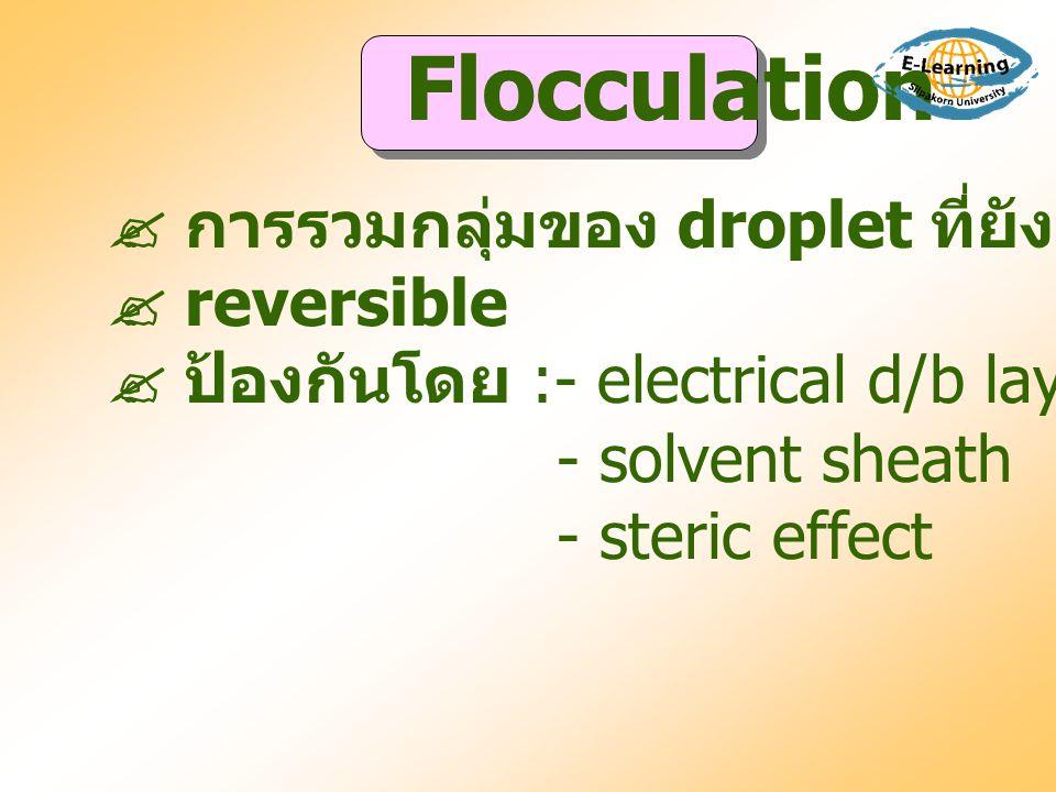 Flocculation  การรวมกลุ่มของ droplet ที่ยังมี interfacial film