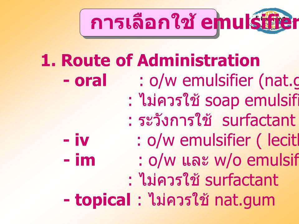 การเลือกใช้ emulsifier