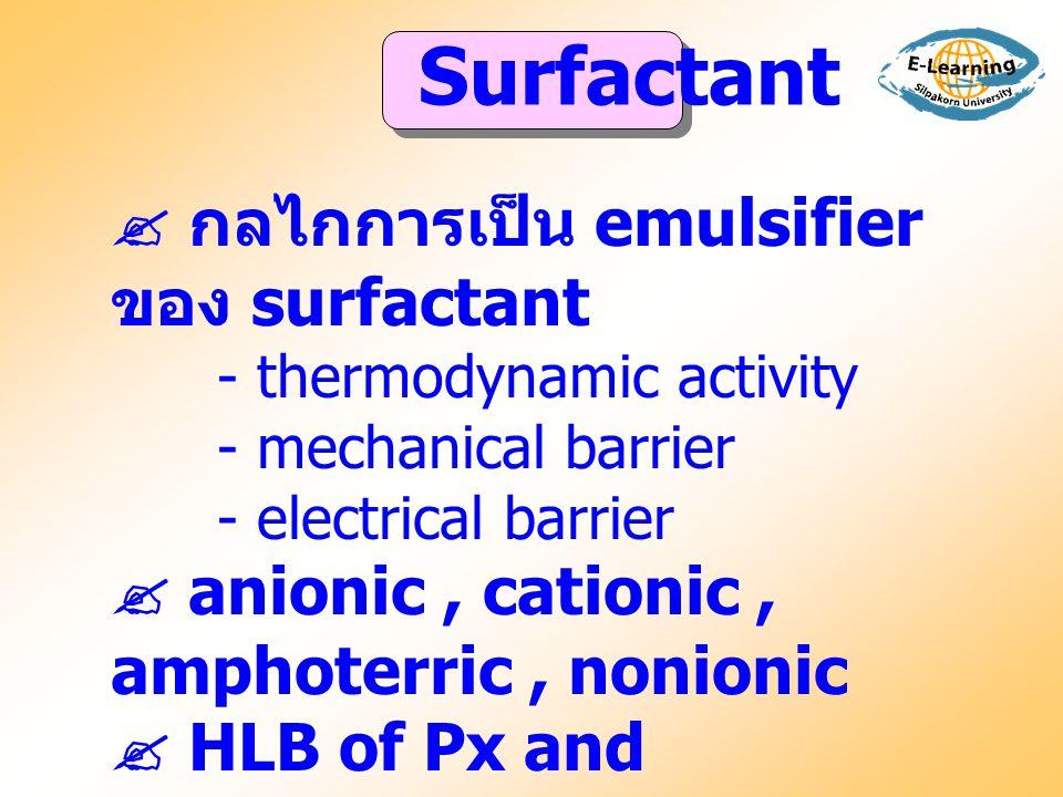 Surfactant  กลไกการเป็น emulsifier ของ surfactant