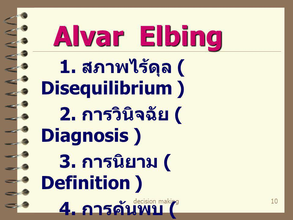 Alvar Elbing 2. การวินิจฉัย ( Diagnosis ) 3. การนิยาม ( Definition )
