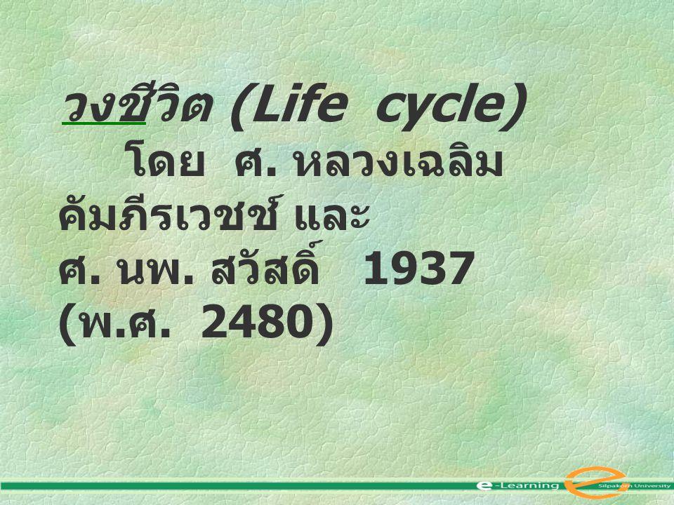 วงชีวิต (Life cycle) ศ. นพ. สวัสดิ์ 1937 (พ.ศ. 2480)