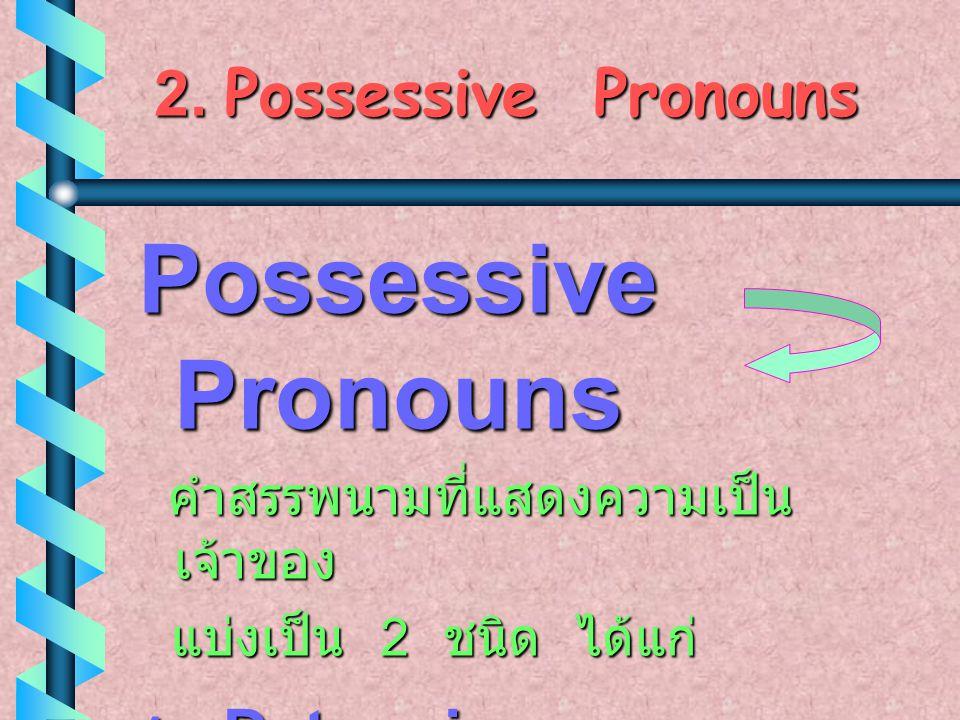 Possessive Pronouns 2. Possessive Pronouns