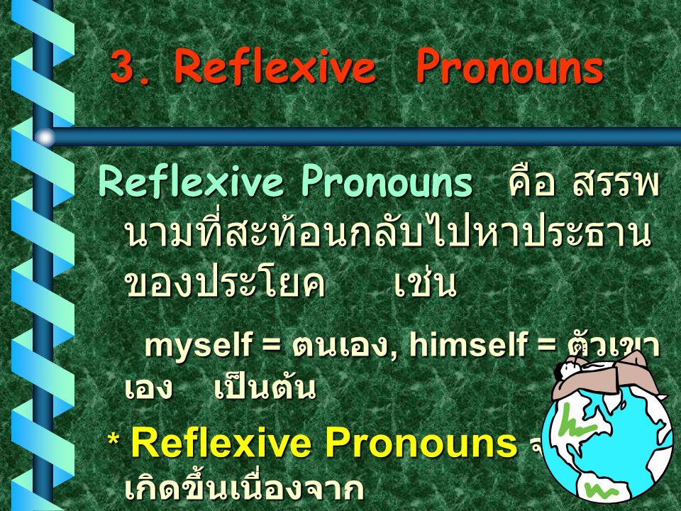 3. Reflexive Pronouns Reflexive Pronouns คือ สรรพนามที่สะท้อนกลับไปหาประธานของประโยค เช่น. myself = ตนเอง, himself = ตัวเขาเอง เป็นต้น.