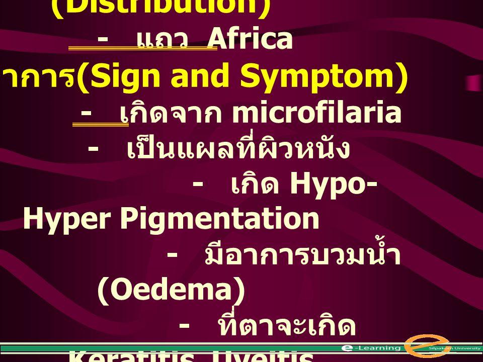 การแพร่กระจาย (Distribution) อาการ(Sign and Symptom)